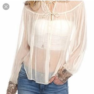 Like new Free People sheer boho peasant blouse
